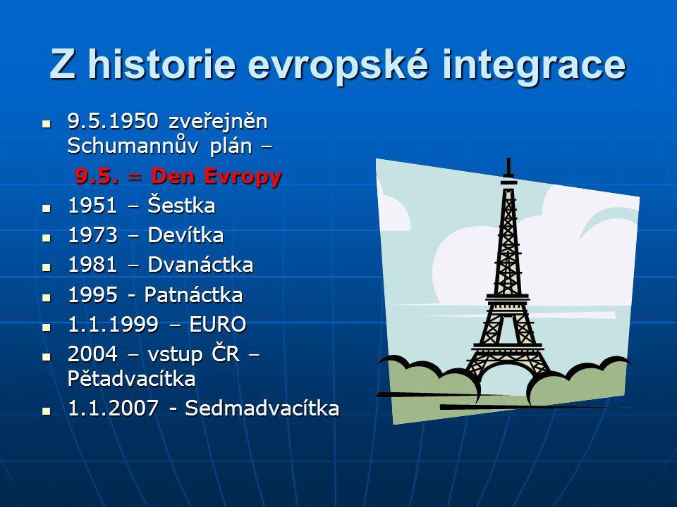 Z historie evropské integrace 9.5.1950 zveřejněn Schumannův plán – 9.5.1950 zveřejněn Schumannův plán – 9.5. = Den Evropy 9.5. = Den Evropy 1951 – Šes