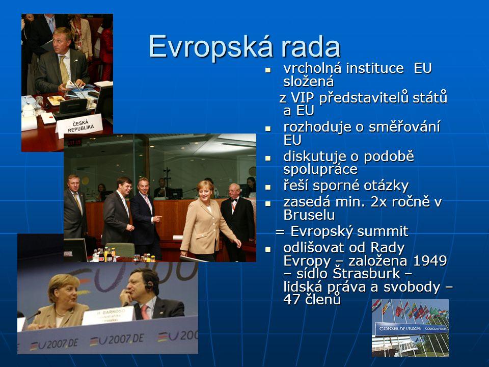 Evropská rada vrcholná instituce EU složená vrcholná instituce EU složená z VIP představitelů států a EU z VIP představitelů států a EU rozhoduje o sm