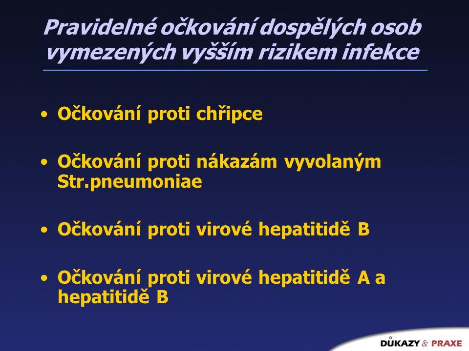 Pravidelné očkování dospělých osob vymezených vyšším rizikem infekce Očkování proti chřipce Očkování proti nákazám vyvolaným Str.pneumoniae Očkování proti virové hepatitidě B Očkování proti virové hepatitidě A a hepatitidě B