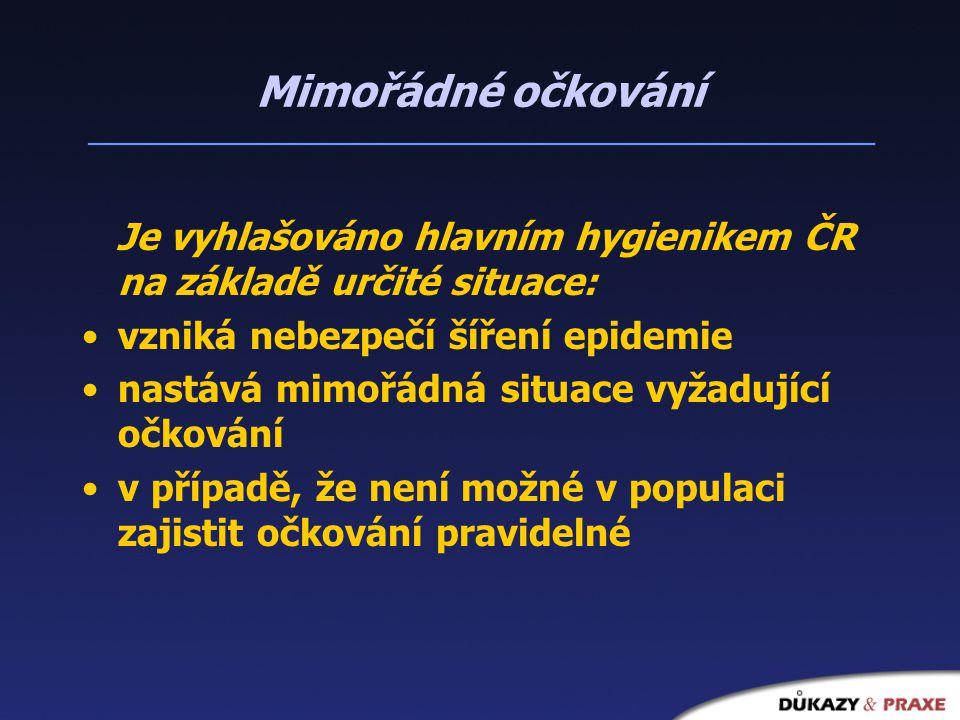Mimořádné očkování Je vyhlašováno hlavním hygienikem ČR na základě určité situace: vzniká nebezpečí šíření epidemie nastává mimořádná situace vyžadující očkování v případě, že není možné v populaci zajistit očkování pravidelné
