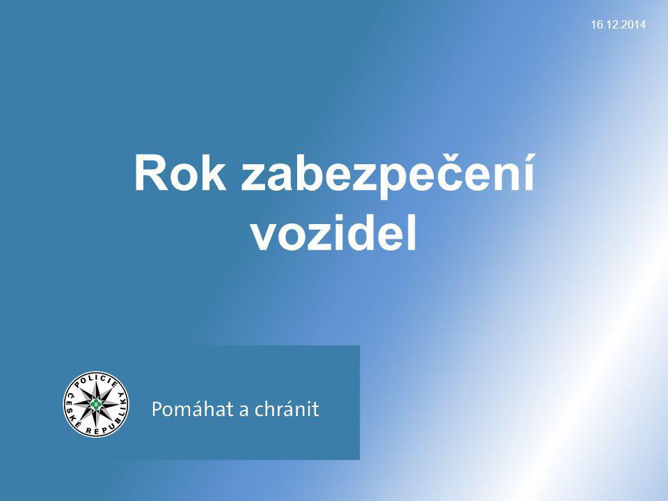 Vývoj autokriminality v ČR 16.12.2014Krádeže motorových vozidel 2