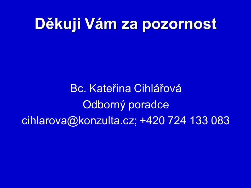 Děkuji Vám za pozornost Bc. Kateřina Cihlářová Odborný poradce cihlarova@konzulta.cz; +420 724 133 083