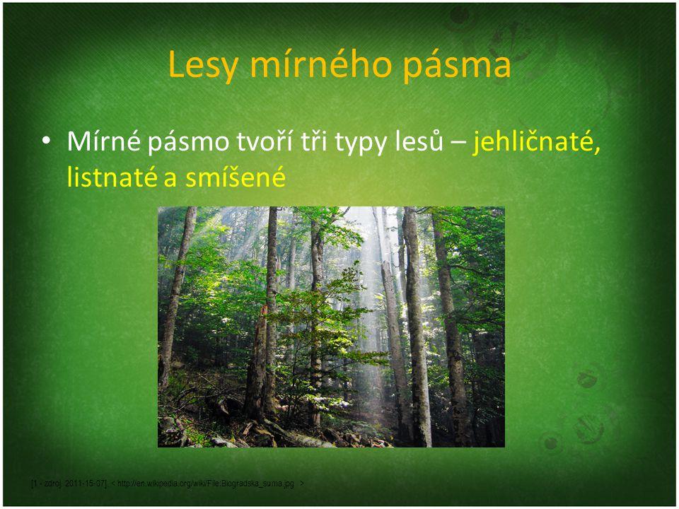 Lesy mírného pásma Mírné pásmo tvoří tři typy lesů – jehličnaté, listnaté a smíšené [1 - zdroj. 2011-15-07].