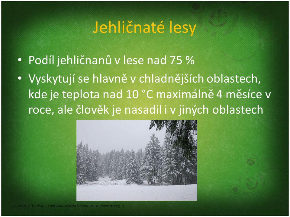 Jehličnaté lesy Podíl jehličnanů v lese nad 75 % Vyskytují se hlavně v chladnějších oblastech, kde je teplota nad 10 °C maximálně 4 měsíce v roce, ale