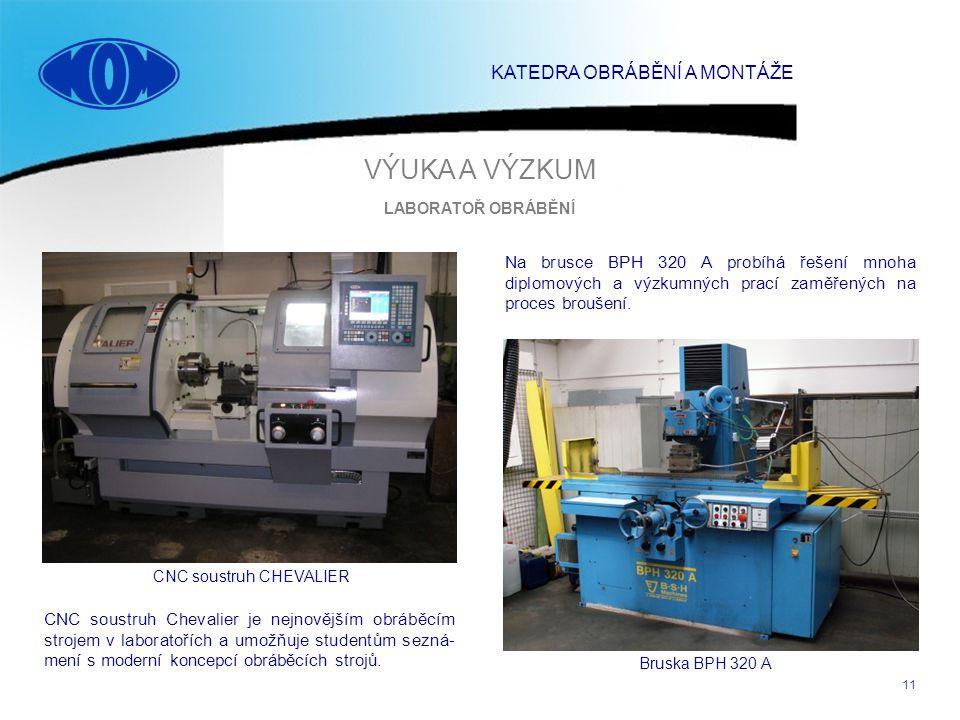 11 CNC soustruh CHEVALIER Bruska BPH 320 A Na brusce BPH 320 A probíhá řešení mnoha diplomových a výzkumných prací zaměřených na proces broušení. CNC
