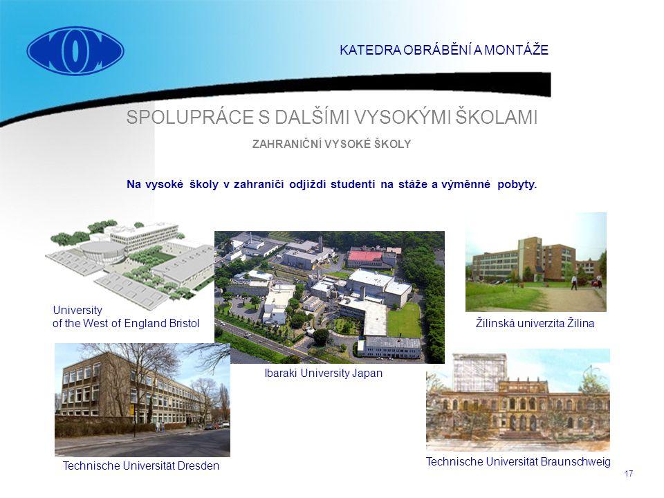 17 SPOLUPRÁCE S DALŠÍMI VYSOKÝMI ŠKOLAMI Technische Universität Braunschweig Technische Universität Dresden University of the West of England Bristol