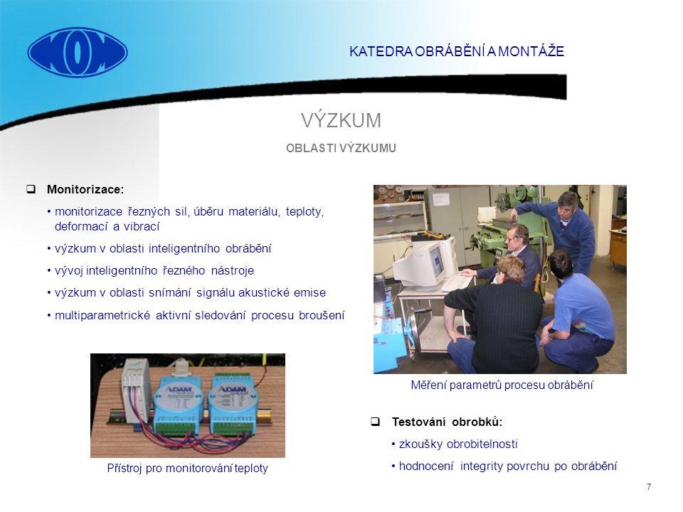 7  Monitorizace: monitorizace řezných sil, úběru materiálu, teploty, deformací a vibrací výzkum v oblasti inteligentního obrábění vývoj inteligentníh
