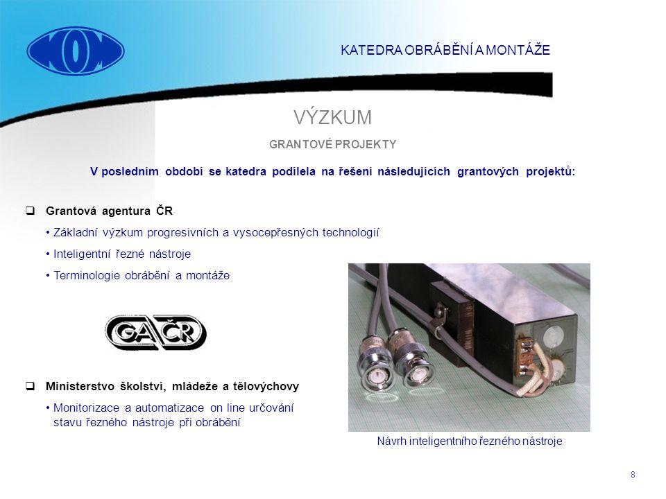 8  Grantová agentura ČR Základní výzkum progresivních a vysocepřesných technologií Inteligentní řezné nástroje Terminologie obrábění a montáže GRANTO