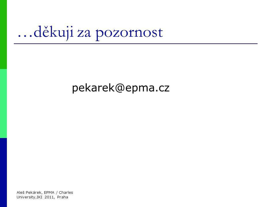 Aleš Pekárek, EPMA / Charles University,IKI 2011, Praha …děkuji za pozornost pekarek@epma.cz