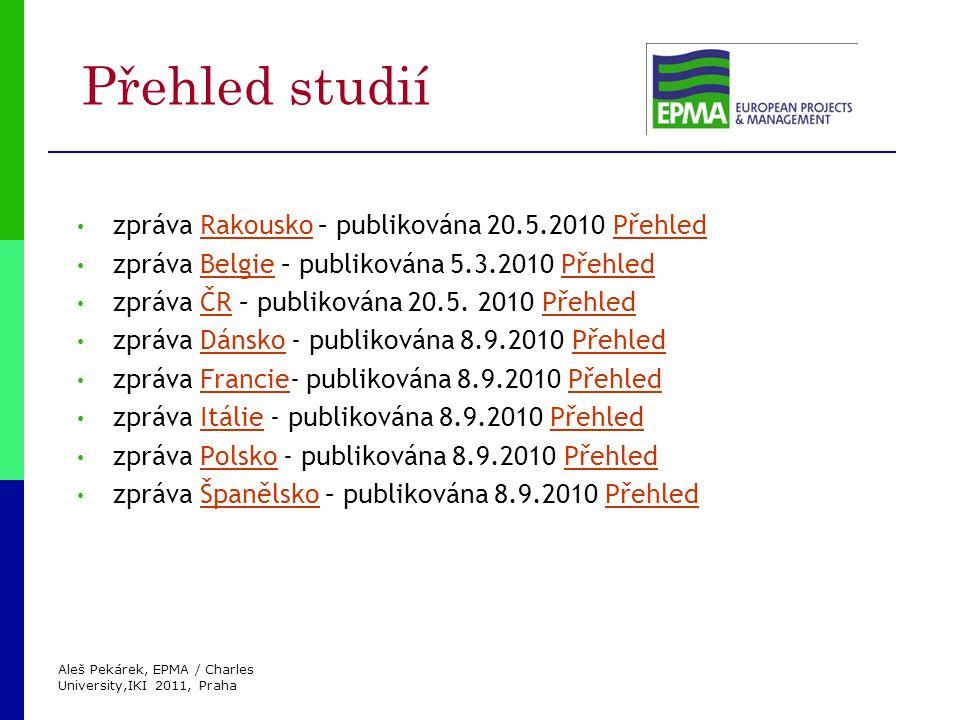 Aleš Pekárek, EPMA / Charles University,IKI 2011, Praha Přehled studií zpráva Rakousko – publikována 20.5.2010 PřehledRakouskoPřehled zpráva Belgie – publikována 5.3.2010 PřehledBelgiePřehled zpráva ČR – publikována 20.5.