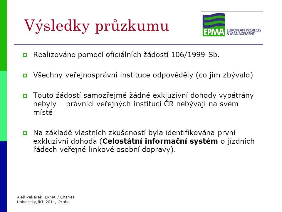 Aleš Pekárek, EPMA / Charles University,IKI 2011, Praha Výsledky průzkumu  Realizováno pomocí oficiálních žádostí 106/1999 Sb.