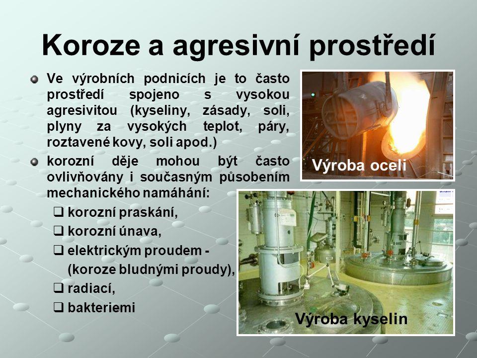 Koroze a agresivní prostředí Ve výrobních podnicích je to často prostředí spojeno s vysokou agresivitou (kyseliny, zásady, soli, plyny za vysokých tep