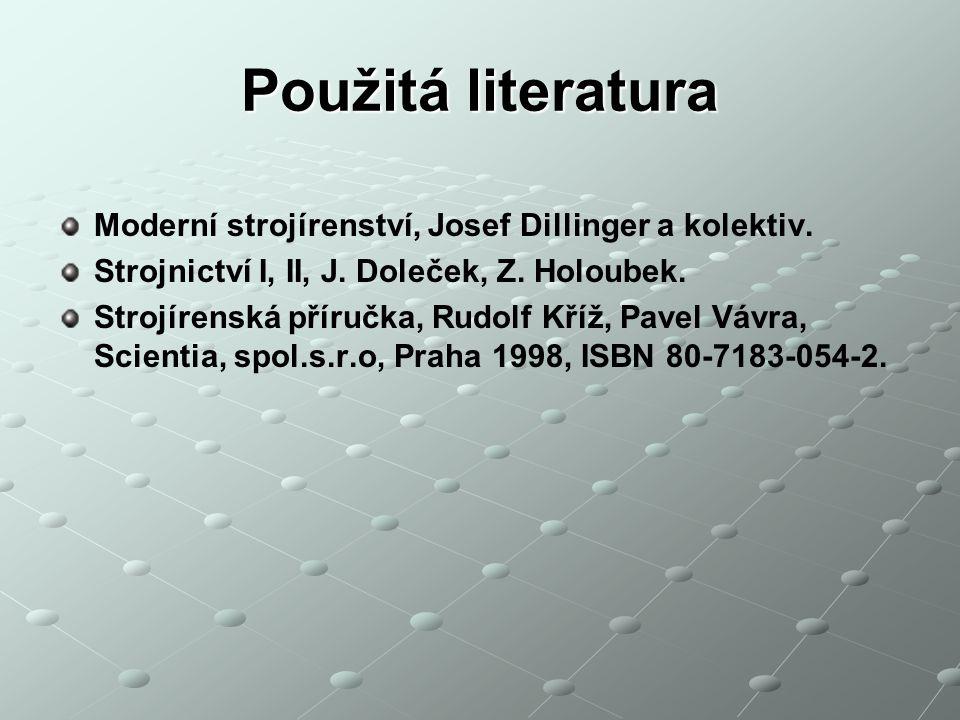Použitá literatura Moderní strojírenství, Josef Dillinger a kolektiv. Strojnictví I, II, J. Doleček, Z. Holoubek. Strojírenská příručka, Rudolf Kříž,