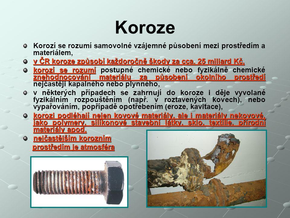 Koroze Korozí se rozumí samovolné vzájemné působení mezi prostředím a materiálem, v ČR koroze způsobí každoročně škody za cca. 25 miliard Kč, korozí s