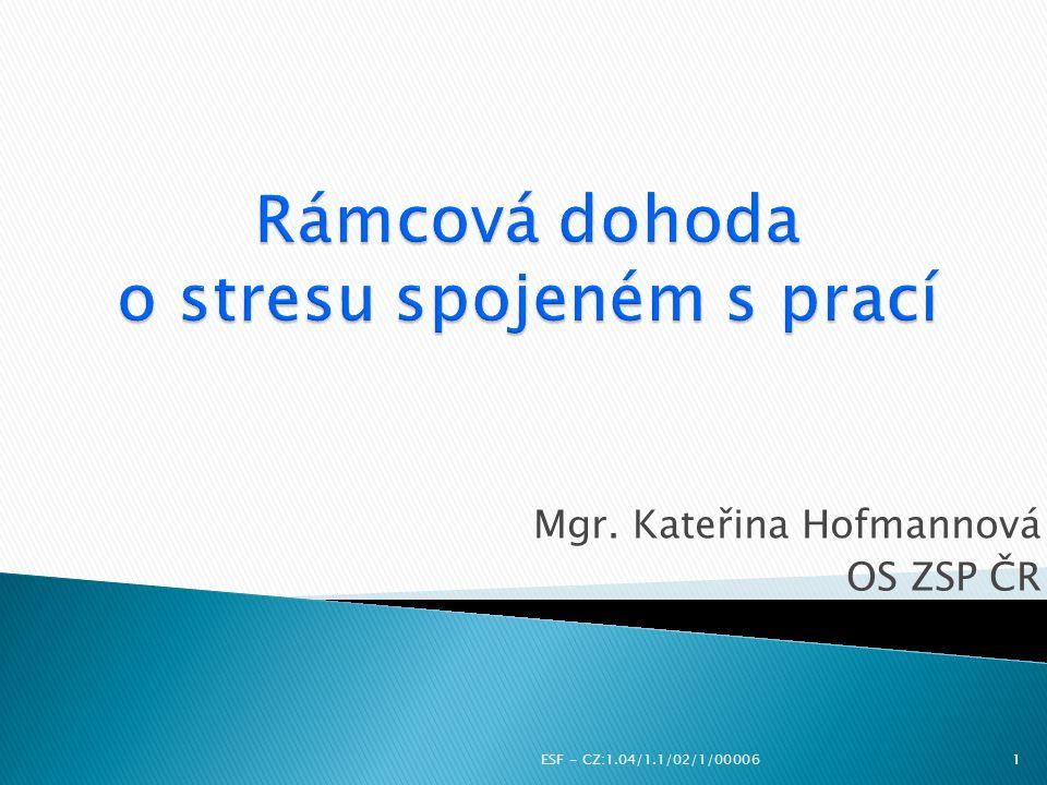 Mgr. Kateřina Hofmannová OS ZSP ČR ESF - CZ:1.04/1.1/02/1/000061