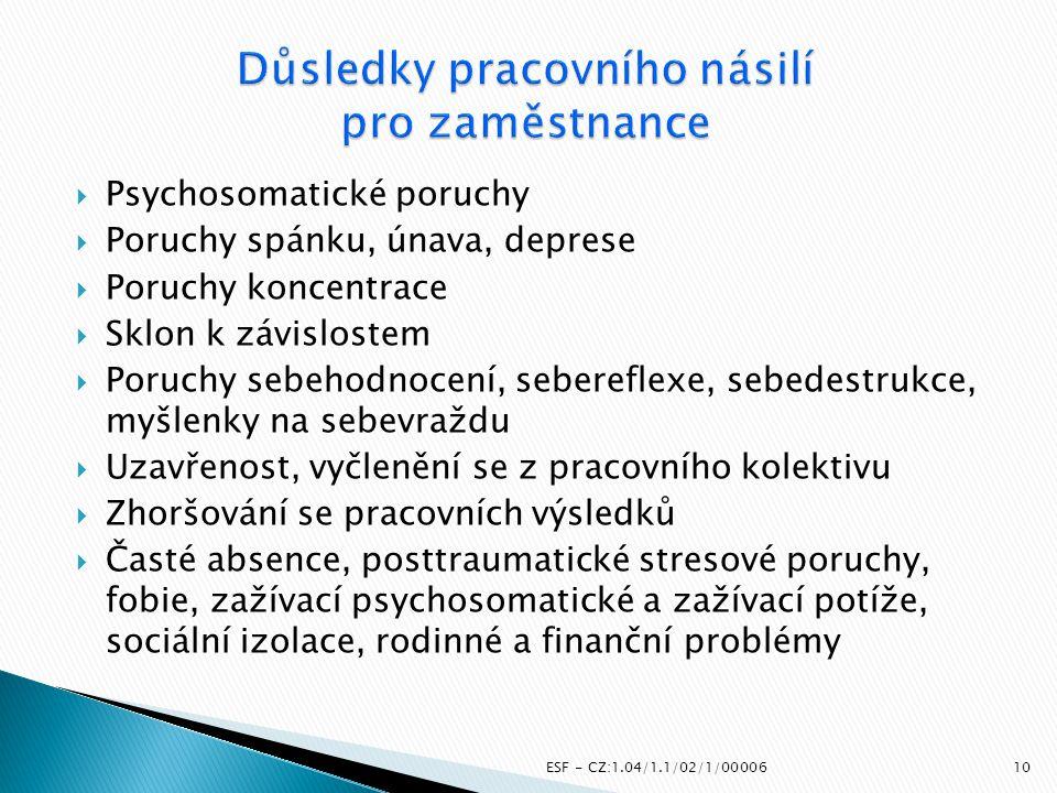  Psychosomatické poruchy  Poruchy spánku, únava, deprese  Poruchy koncentrace  Sklon k závislostem  Poruchy sebehodnocení, sebereflexe, sebedestr
