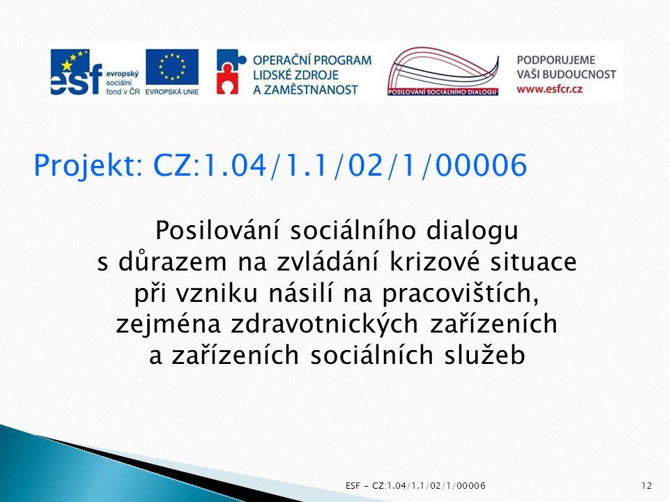 Projekt: CZ:1.04/1.1/02/1/00006 Posilování sociálního dialogu s důrazem na zvládání krizové situace při vzniku násilí na pracovištích, zejména zdravot