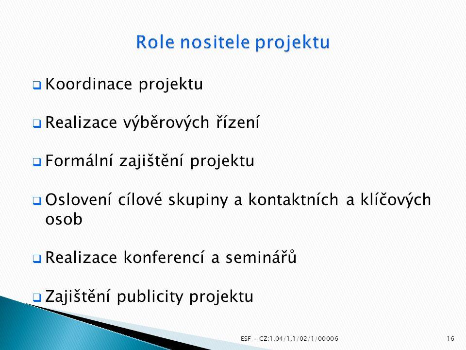  Koordinace projektu  Realizace výběrových řízení  Formální zajištění projektu  Oslovení cílové skupiny a kontaktních a klíčových osob  Realizace