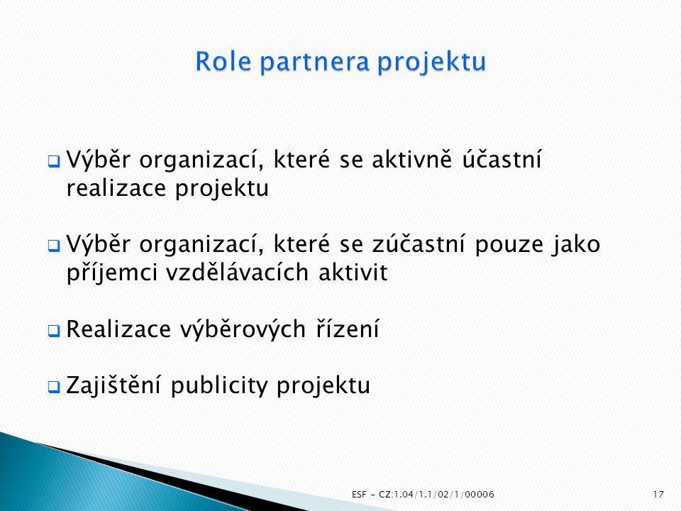  Výběr organizací, které se aktivně účastní realizace projektu  Výběr organizací, které se zúčastní pouze jako příjemci vzdělávacích aktivit  Reali