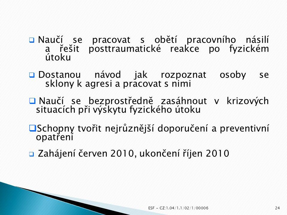 ESF - CZ:1.04/1.1/02/1/00006  Naučí se pracovat s obětí pracovního násilí a řešit posttraumatické reakce po fyzickém útoku  Dostanou návod jak rozpo