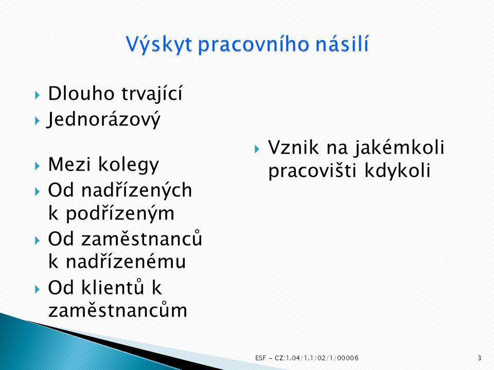 Českomoravská konfederace odborových svazů ESF - CZ:1.04/1.1/02/1/00006 Odborový svaz zdravotnictví a sociální péče České republiky 14