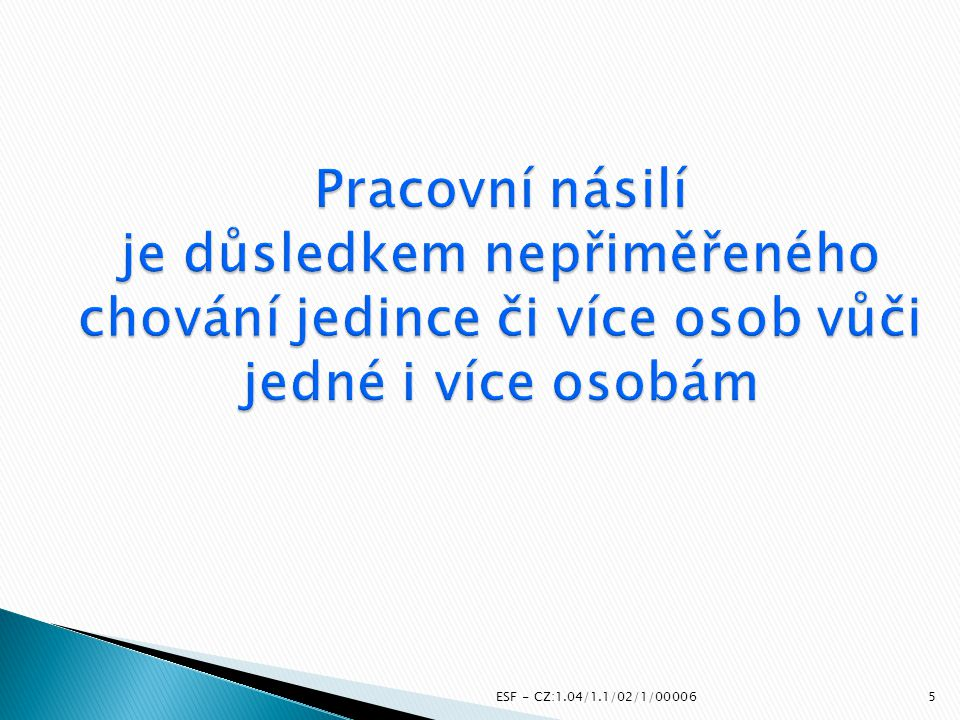  Zajištění proškolení klíčových osob – 60  Proškolení účastníků vzdělání - 800  Zajištění zázemí pro vzdělávání  Osvětová činnost na pracovišti na téma prevence násilí na pracovišti (při kolektivním vyjednávání nebo jiné formě sociálního dialogu) ESF - CZ:1.04/1.1/02/1/0000626