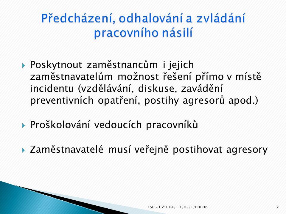 Poskytnout zaměstnancům i jejich zaměstnavatelům možnost řešení přímo v místě incidentu (vzdělávání, diskuse, zavádění preventivních opatření, posti