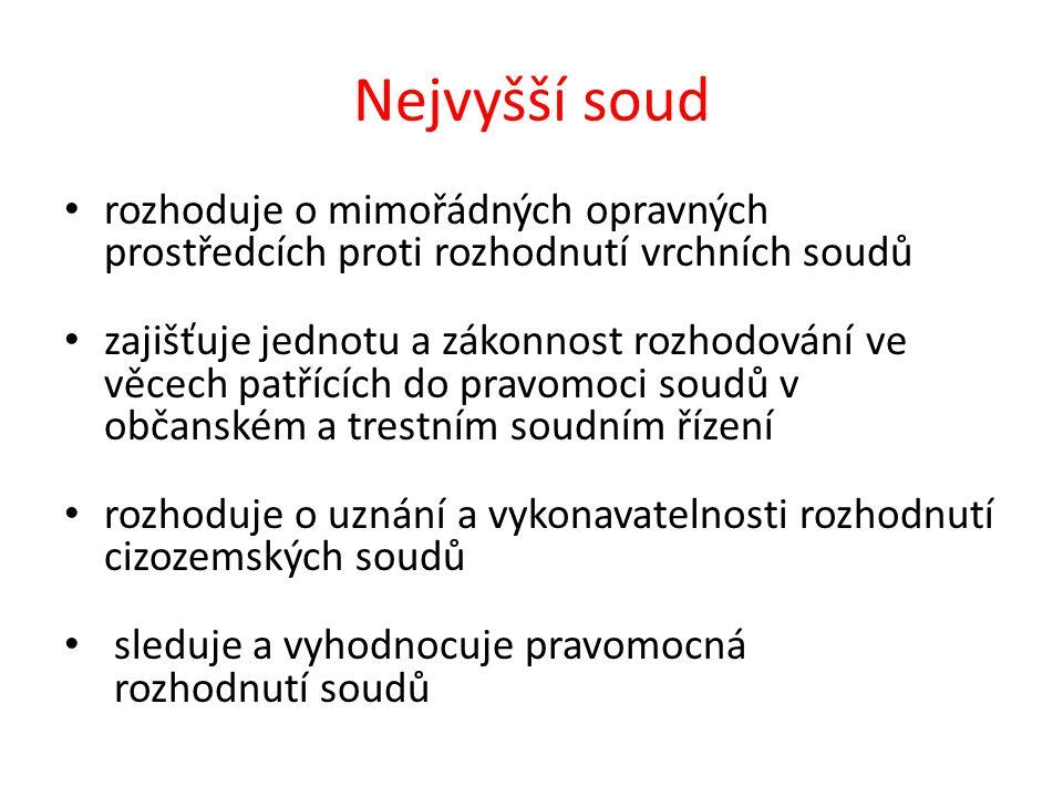 Kontrolní otázky Vytvořte strukturu soudů v ČR. Postupujte od nejvyššího soudu po nejnižší.