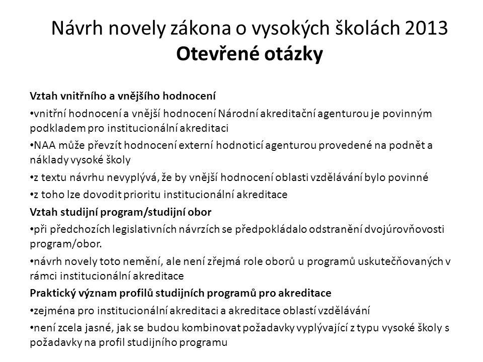 Návrh novely zákona o vysokých školách 2013 Otevřené otázky Vztah vnitřního a vnějšího hodnocení vnitřní hodnocení a vnější hodnocení Národní akredita