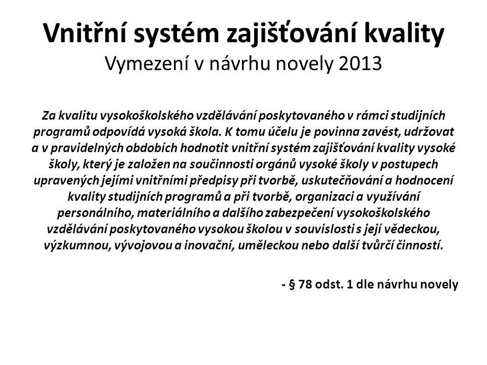 Vnitřní systém zajišťování kvality Vymezení v návrhu novely 2013 Za kvalitu vysokoškolského vzdělávání poskytovaného v rámci studijních programů odpov