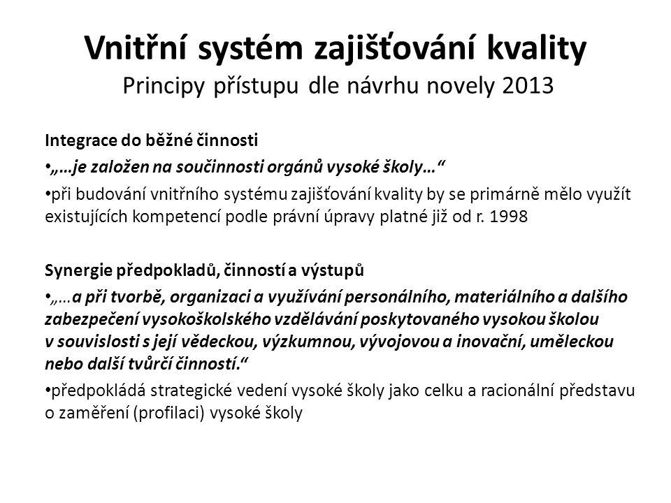 """Vnitřní systém zajišťování kvality Principy přístupu dle návrhu novely 2013 Integrace do běžné činnosti """"…je založen na součinnosti orgánů vysoké škol"""