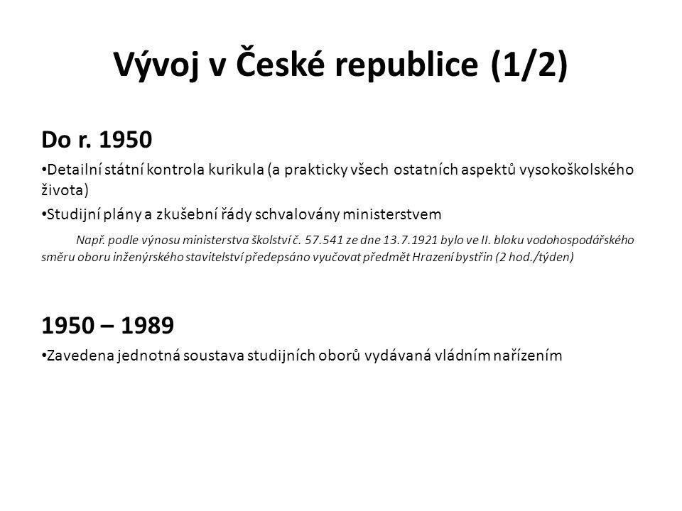 Vývoj v České republice (1/2) Do r. 1950 Detailní státní kontrola kurikula (a prakticky všech ostatních aspektů vysokoškolského života) Studijní plány
