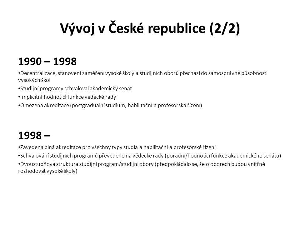 Legislativní návrhy (2009, 2011, 2013) 2009 akreditace oblasti vzdělávání povinnost zavedení vnitřního systému zajišťování kvality a jeho vnějšího hodnocení akreditační komisí (s možností převzetí hodnocení provedeného jinou agenturou v rámci EHEA) v návrhu ne zcela jasný vztah mezi akreditací a evaluací 2011 institucionální akreditace založená na ověření vnitřního systému zajišťování kvality doplněná periodickým vnějším hodnocením vzdělávací činnosti podle oblastí vzdělávání 2013 institucionální akreditace spojená s akreditací oblastí vzdělávání (nebo habilitačních a profesorských řízení) jako alternativa k současně zachovanému systému akreditace studijních programů duální systém (obdobně např.