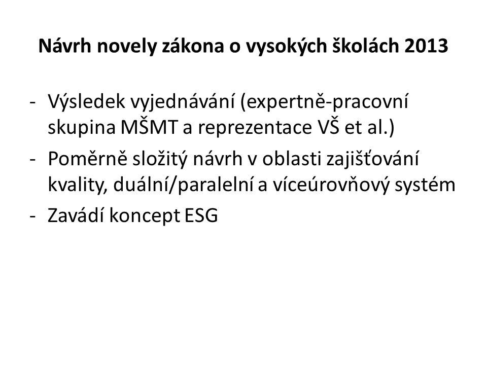 Návrh novely zákona o vysokých školách 2013 Složky systému zajišťování kvality Vnitřní systém zajišťování kvality obecná povinnost pro všechny vysoké školy (§ 78 odst.