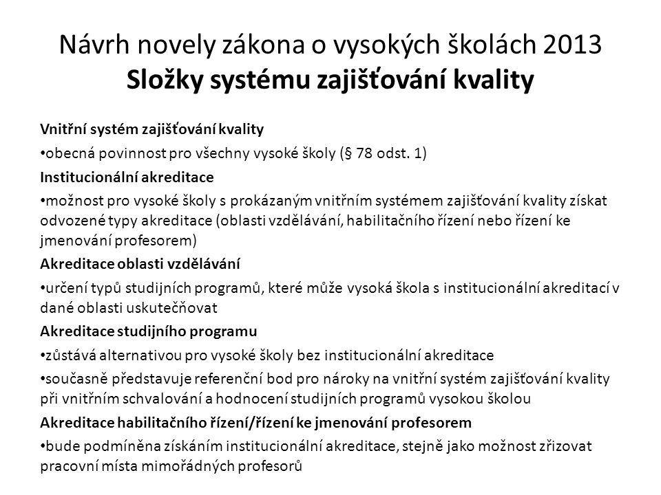Návrh novely zákona o vysokých školách 2013 Složky systému zajišťování kvality Vnitřní systém zajišťování kvality obecná povinnost pro všechny vysoké