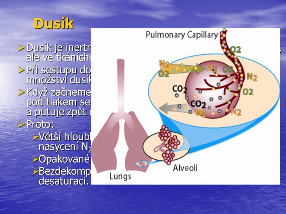 Dusík  Dusík je inertní plyn, který lidský organismus nevyužívá, ale ve tkáních se rozpouští.  Při sestupu do hloubky se vzrůstajícím tlakem vzrůstá