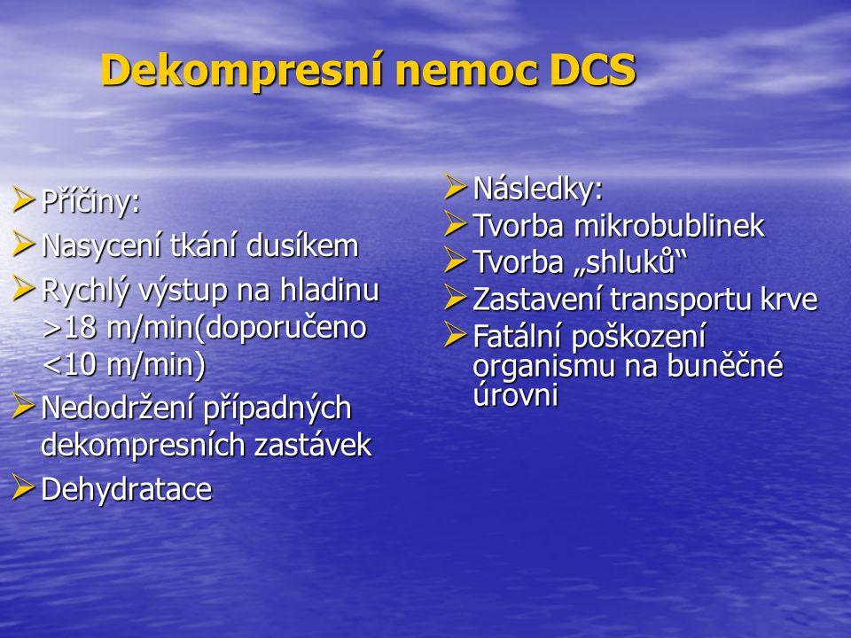  Příčiny:  Nasycení tkání dusíkem  Rychlý výstup na hladinu >18 m/min(doporučeno 18 m/min(doporučeno <10 m/min)  Nedodržení případných dekompresní