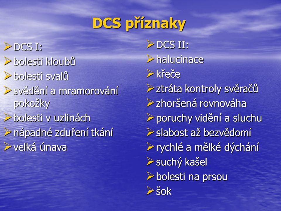  DCS I:  bolesti kloubů  bolesti svalů  svědění a mramorování pokožky  bolesti v uzlinách  nápadné zduření tkání  velká únava  DCS II:  haluc