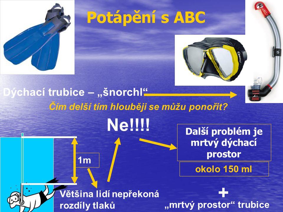 """Potápění s ABC Dýchací trubice – """"šnorchl"""" Čím delší tím hlouběji se můžu ponořit? Ne!!!! 1m Většina lidí nepřekoná rozdíly tlaků okolo 150 ml Další p"""