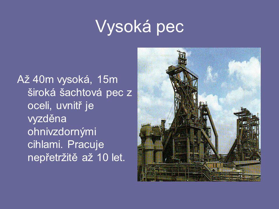 Vysoká pec Až 40m vysoká, 15m široká šachtová pec z oceli, uvnitř je vyzděna ohnivzdornými cihlami. Pracuje nepřetržitě až 10 let.