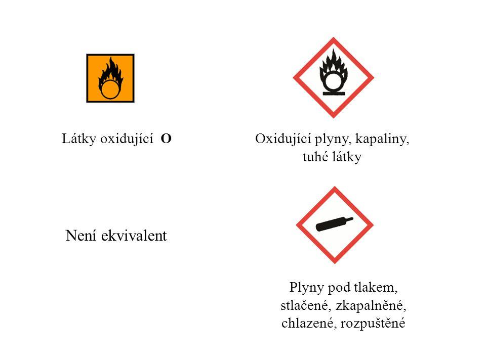 Látky oxidující OOxidující plyny, kapaliny, tuhé látky Plyny pod tlakem, stlačené, zkapalněné, chlazené, rozpuštěné Není ekvivalent