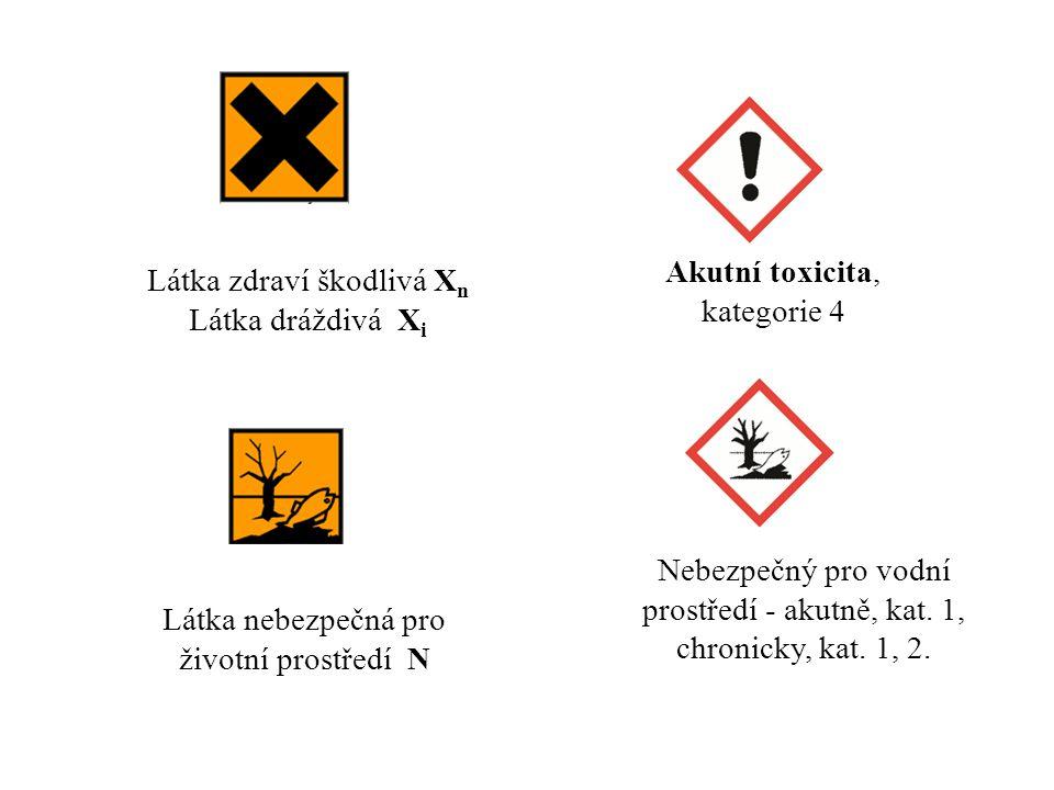 Akutní toxicita, kategorie 4 Látka zdraví škodlivá X n Látka dráždivá X i Látka nebezpečná pro životní prostředí N Nebezpečný pro vodní prostředí - ak
