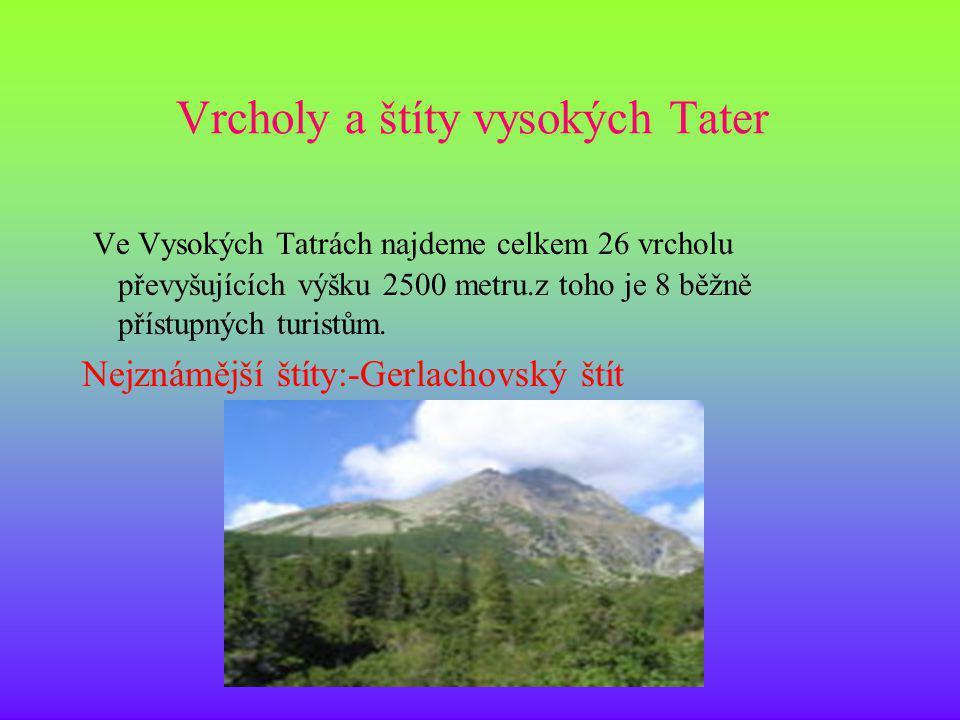 Vrcholy a štíty vysokých Tater Ve Vysokých Tatrách najdeme celkem 26 vrcholu převyšujících výšku 2500 metru.z toho je 8 běžně přístupných turistům. Ne