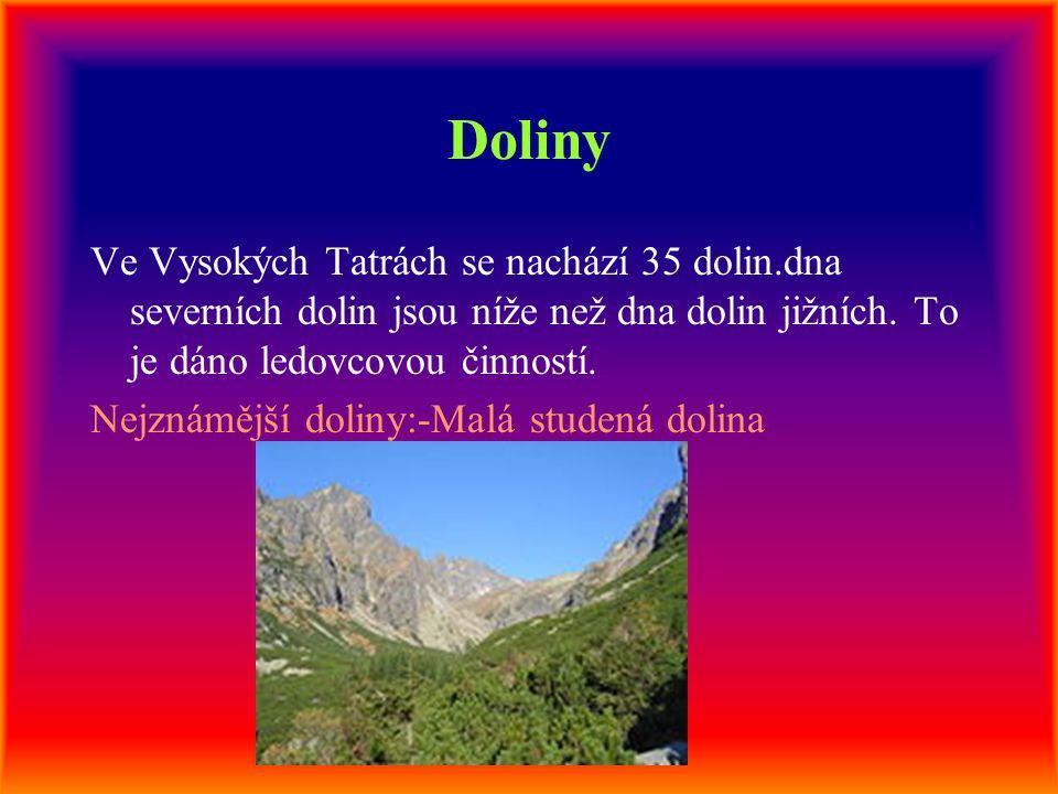 Doliny Ve Vysokých Tatrách se nachází 35 dolin.dna severních dolin jsou níže než dna dolin jižních. To je dáno ledovcovou činností. Nejznámější doliny