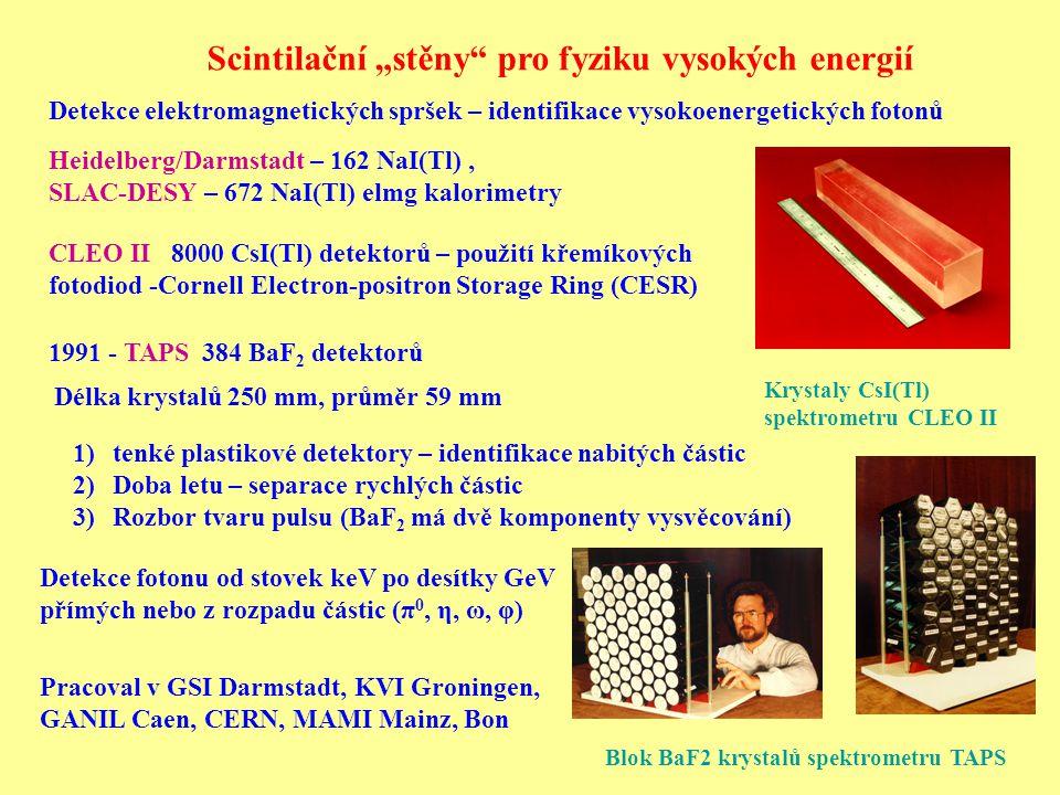 """Scintilační """"stěny pro fyziku vysokých energií 1991 - TAPS 384 BaF 2 detektorů CLEO II 8000 CsI(Tl) detektorů – použití křemíkových fotodiod -Cornell Electron-positron Storage Ring (CESR) Heidelberg/Darmstadt – 162 NaI(Tl), SLAC-DESY – 672 NaI(Tl) elmg kalorimetry Detekce elektromagnetických spršek – identifikace vysokoenergetických fotonů Krystaly CsI(Tl) spektrometru CLEO II 1)tenké plastikové detektory – identifikace nabitých částic 2)Doba letu – separace rychlých částic 3)Rozbor tvaru pulsu (BaF 2 má dvě komponenty vysvěcování) Pracoval v GSI Darmstadt, KVI Groningen, GANIL Caen, CERN, MAMI Mainz, Bon Detekce fotonu od stovek keV po desítky GeV přímých nebo z rozpadu částic (π 0, η, ω, φ) Délka krystalů 250 mm, průměr 59 mm Blok BaF2 krystalů spektrometru TAPS"""