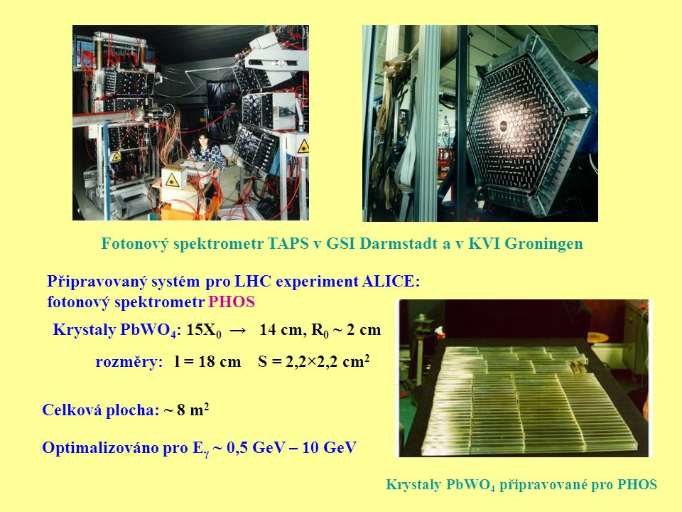 Připravovaný systém pro LHC experiment ALICE: fotonový spektrometr PHOS Fotonový spektrometr TAPS v GSI Darmstadt a v KVI Groningen Krystaly PbWO 4 : 15X 0 → 14 cm, R 0 ~ 2 cm Celková plocha: ~ 8 m 2 Optimalizováno pro E γ ~ 0,5 GeV – 10 GeV rozměry: l = 18 cm S = 2,2×2,2 cm 2 Krystaly PbWO 4 připravované pro PHOS
