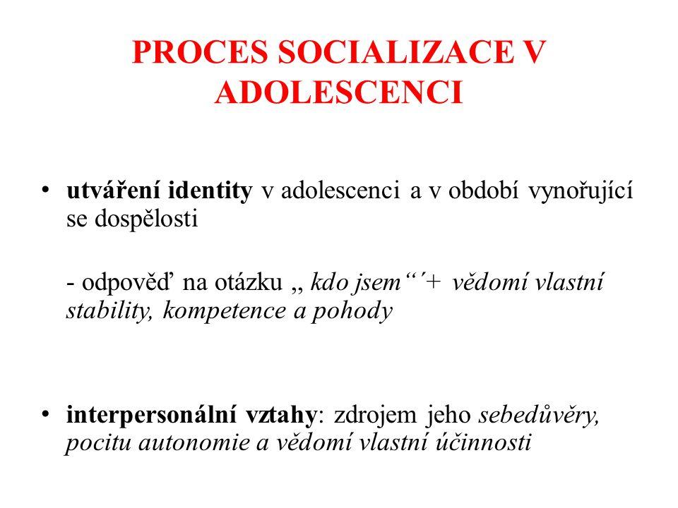 PROCES SOCIALIZACE V ADOLESCENCI utváření identity v adolescenci a v období vynořující se dospělosti - odpověď na otázku,, kdo jsem ´+ vědomí vlastní stability, kompetence a pohody interpersonální vztahy: zdrojem jeho sebedůvěry, pocitu autonomie a vědomí vlastní účinnosti