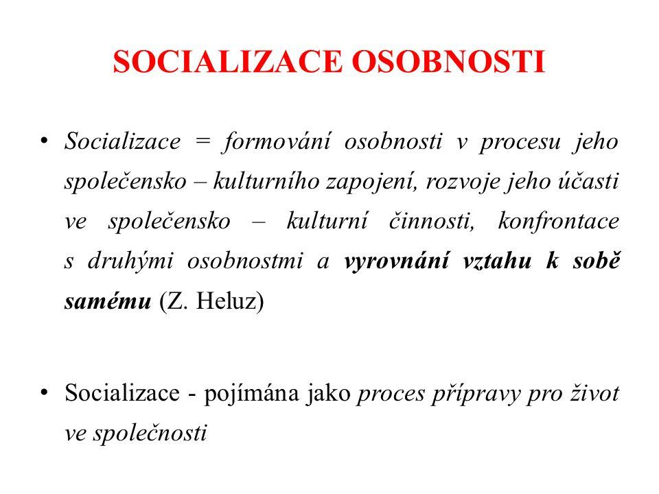 SOCIALIZACE OSOBNOSTI Socializace = formování osobnosti v procesu jeho společensko – kulturního zapojení, rozvoje jeho účasti ve společensko – kulturní činnosti, konfrontace s druhými osobnostmi a vyrovnání vztahu k sobě samému (Z.