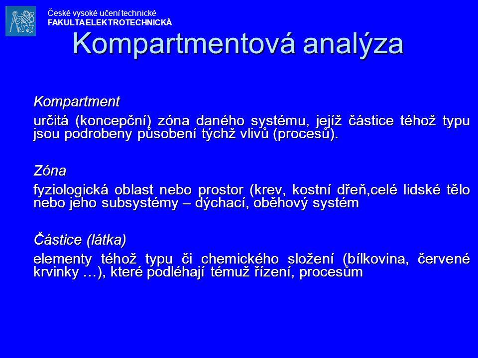 Kompartmentová analýza Kompartment určitá (koncepční) zóna daného systému, jejíž částice téhož typu jsou podrobeny působení týchž vlivů (procesů).