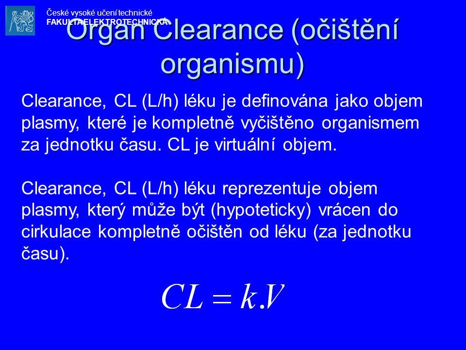 Organ Clearance (očištění organismu) Clearance, CL (L/h) léku je definována jako objem plasmy, které je kompletně vyčištěno organismem za jednotku ča